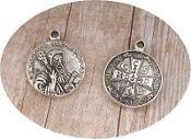 "Tiny Saint Benedict Jubilee Silver Antique medal 11/16"" ROUND"