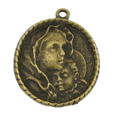 "Madonna and Child Large Bronze Finish Medal 1 5/16"" Oval Shape Our Deluxe Charms are known for the most Beautiful intricate designs Madonna and Child Medal Catholic Medals"