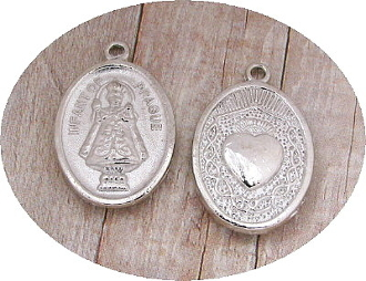 "Sacred Heart with Crown Thorns IOP Holy Medal 1"" Silver Plated"