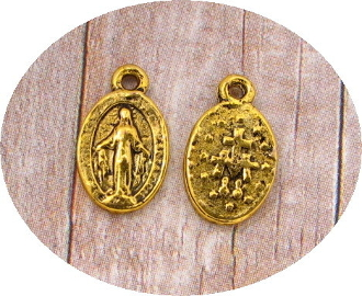 Miniature Miraculous medal Tiny Oval Silver Oxidized- H-1.0cm-Inexpensive Tiny Miraculous medal- Great for watch, Bracelets, favors-Our Smallest Medal oval-Tiny Miraculous medal Silver Oxidized-Made in Italy-Includes jump ring
