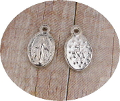 Miniature Miraculous medal Tiny Oval Silver Oxidized-Inexpensive Tiny Miraculous medal- Great for watch, Bracelets, favors-Our Smallest Medal oval-Tiny Miraculous medal 1.0 x 0.7 Oval Antique Silver