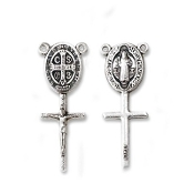 "Saint Benedict Connector Silver Oxidized 1 3/8"" Made in Italy"