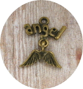 Tiny 2.0 x 1.7cm Bronze Finish Angel Wings with wording