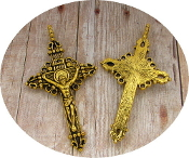 Antique Gold Metal Silver Oxidized Rosary parts-Crucifix Charms, Necklace-Rosary Crucifixes Pendant-Italy-Crucifix to make rosaries Inexpensive Catholic Cross