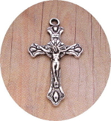 Small Antique Silver Crucifix 3.0x1.9cm Rosary Bracelet Part-Necklace