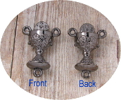 Dazzling Metallic Silver Chalice Shaped Center Piece Part 1.8cm Italy Wholesale rosary parts bulk prices