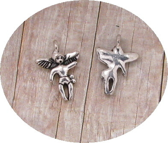 TINY Flying Angel Charm Silver Antique Pendant Italy 1.7cm
