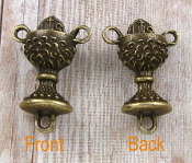 "25/Pc 3D Dazzling Bronze Finish Chalice Shaped Rosary Center 3/4"" Italy Wholesale rosary parts bulk prices"