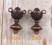 25/Pc 3D Dazzling Copper Finish Chalice Shaped Rosary Center 1.8cm Italy Wholesale rosary parts bulk prices