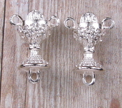 3D Dazzling Silver Finish Chalice Shaped Rosary Center 1.8cm Italy Wholesale rosary parts bulk prices