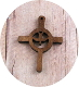 "Holy Spirit Cross 1 1/4"" x 1"" Brown Stain Real Wood Cross"