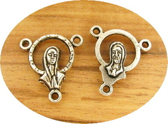 Stunning Halo Praying Madonna/SHJ Center 1.7cm Antique Silver Finish Wholesale rosary parts rosary supplies