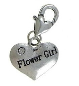 Flower Girl Heart Charm with Clear Crystal Rhinestone 16.40x27.60x3mm Antique Silver Finish with Lobster Clasp