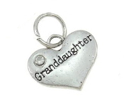 Granddaughter Heart Charm with Crystal Rhinestone 16x14x3mm Antique Silver Finish