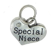 Special Niece Heart Charm Crystal Rhinestone Antique Silver-Special Niece Heart Charm with Crystal Rhinestone 16x14x3mm Antique Silver Finish