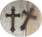 "Copper Finish Crucifix 1 1/2 x 1"" Rosary Parts or Necklace Jesus-Metal Catholic Crucifix Rosary parts-Crucifix Charms, Necklace-No jump ring-Rosary Crucifixes Pendant-Crucifix to make rosaries"