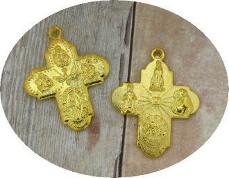 8 Way Cross Medal with Holy Spirit Gold H-1""