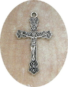 Antique Silver Crucifix 3.0x1.9cm Rosary Bracelet Part-Necklace