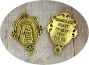 Antique Gold tone rosary center with wording on back. IHM 2.6cm x 2.1cm Rosary Center supplies and parts, Immaculate Heart of Mary