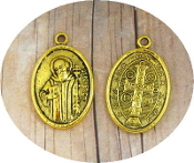 "Saint Benedict Jubilee Medal Antique Gold Finish oval 1"" Italy"