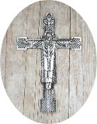"Christ the King Cross Antique Silver Finish 2 3/8"" x 1 5/8"" As Low As $0.85 Each"