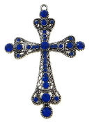 "Crucifixes Large with Auroa Crystal 4"" Metal Cross Silver Plated. Hand Made"