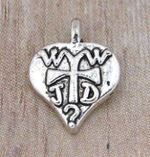 Inexpensive Tiny WWJD? Heart Charm What Would Jesus Do 1.0 x 1.1cm Antique Silver Measurement does not include eyelet-No jump ring