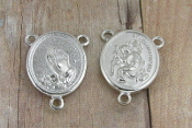 St Christopher Praying Hands Silver Rosary Centerpiece 3/4""