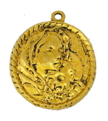 "Madonna and Child Large Antique Gold Finish Medal 1 5/16"" Oval Shape Our Deluxe Charms are known for the most Beautiful intricate designs Madonna and Child Medal Catholic Medals"