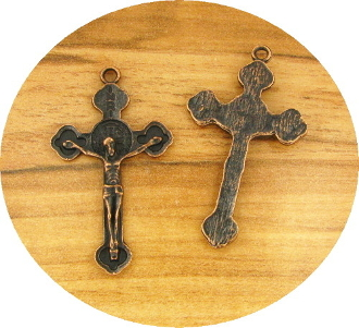 Beautiful Copper Finish Crucifix 3.3 x 2.1cm with Saint Benedict Halo Pendant Rosary Parts