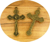 Beautiful Bronze Finish Crucifix 3.3 x 2.1cm with Saint Benedict Halo Pendant Rosary Parts