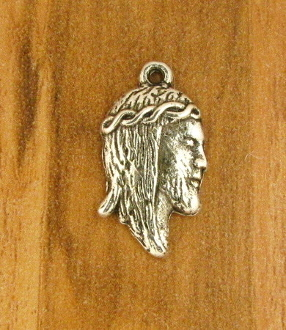 Tiny Ecce Homo Head of Christ Thorns Charm 1.6cm Silver Antique