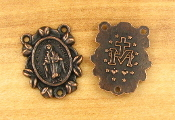 "Ornate Miraculous Medal Copper Finish 3/4"" Rosary Center Parts"