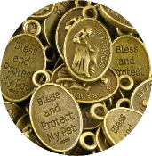"100/Pc oval 1"" St Francis Pet medal BRONZE BLESS AND PROTECT MY PET"