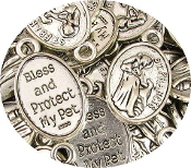 "Saint Francis Pet medal BLESS & PROTECT MY PET Antique Silver 1"" - St Francis of Assisi Patron saint of animals wholesale bulk prices"