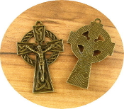 "Our Deluxe Rosary Crucifixes are known for the most beautiful intricate designs Irish Celtic Crucifix Cross Bronze Finish 1 1/2"" x 1"" Metal"