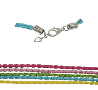 "100/Pkg -17.5"" Leather Brass lobster clasp necklace Mixed Colors-Fashion Necklace Cord, Leather, lobster clasp, with 5cm extender chain, mixed colors, 3mm, Length:17.5 Inch, 100 chains/Bag, Sold By Bag"