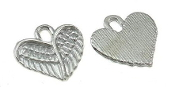 3D Tiny Silver Finish Angel Wing Charm H-1.1xW-1.3cm