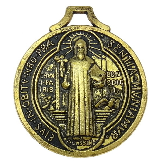 Saint Benedict Medal Jubilee Large Saint Benedict Medal Jubilee Antique Gold Finish 1 1/4""
