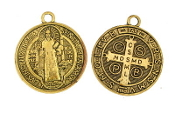Saint Benedict Medal Jubilee Antique Gold Finish 1""