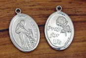 "St Francis Assisi medal Bright SILVER finish 1"" oval PRAY FOR US"
