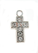 Tiny Silver Plated Cross 7 Rhinestones 11x19x3mm Bulk Parts