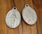 "Miraculous medal shiny Silver Charm 1"" Regina Sine Labe Originali Concepta (OPN) Ora Pro Nobis, or ""Queen Conceived Without Original Sin, Pray for Us-Shipped as Shown in Picture Silver Miraculous Medal Medal"