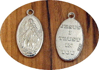 Divine Mercy Silver Oxidized Divine Mercy Medal Medallions