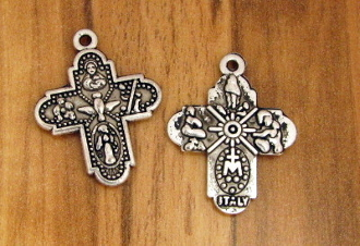 Tiny H-2.1cm Catholic Religious Antique Silver Finish 4 Way Cross Saint Joseph, St Christopher, Sacred Heart of Jesus (Scapular), Lady of Grace (Miraculous), Back Infant of Prague, Lady of Lourdes, St Anthony, Holy Spirit
