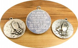 "Praying Hands Medal with ""Serenity Prayer"" on other side 1 1/8""- Round Antique Silver Finish - Measurement does not include eyelet"