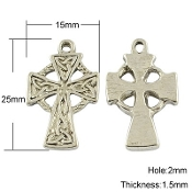 "10/Pc Small Celtic Cross with Antique Silver Finish 7/8"" x 5/8"" Metal-Our Deluxe Rosary Crucifixes are known for the most beautiful intricate designs Rosary parts Made in Italy Largest selection of inexpensive Rosary supplies on the web"
