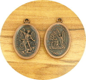 "As Low As $0.49 Each Saint Michael St Michael/Guardian Angel Medal COPPER finish oval 1"" Italy"