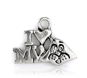 10/Pc Love my Dog Charm Antique Silver finish W-1.7cm