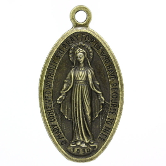 "Extra LARGE Miraculous Medal Bronze Finish 1 5/8"" x 1 1/16""- The Miraculous Medal, also known as the Medal of the Immaculate Conception, is a medal created by Saint Catherine Labouré in response to a request from the Blessed Virgin Mary."